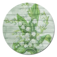 On Wood May Lily Of The Valley Magnet 5  (Round)