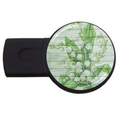 On Wood May Lily Of The Valley USB Flash Drive Round (1 GB)