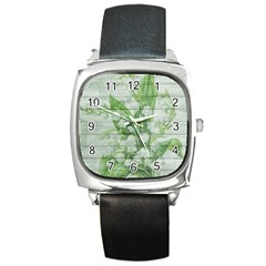 On Wood May Lily Of The Valley Square Metal Watch