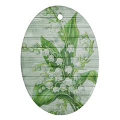 On Wood May Lily Of The Valley Oval Ornament (two Sides)
