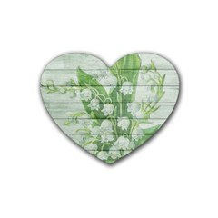 On Wood May Lily Of The Valley Rubber Coaster (Heart)