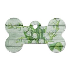 On Wood May Lily Of The Valley Dog Tag Bone (One Side)
