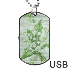On Wood May Lily Of The Valley Dog Tag USB Flash (Two Sides)