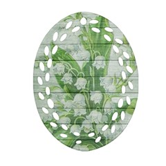 On Wood May Lily Of The Valley Ornament (Oval Filigree)