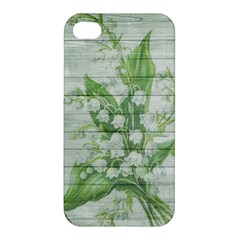 On Wood May Lily Of The Valley Apple iPhone 4/4S Premium Hardshell Case
