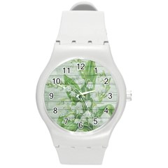 On Wood May Lily Of The Valley Round Plastic Sport Watch (M)