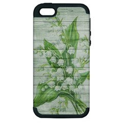 On Wood May Lily Of The Valley Apple iPhone 5 Hardshell Case (PC+Silicone)