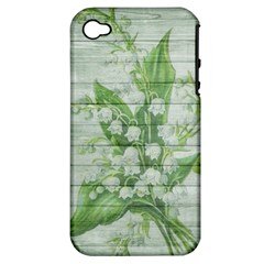 On Wood May Lily Of The Valley Apple iPhone 4/4S Hardshell Case (PC+Silicone)