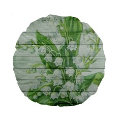 On Wood May Lily Of The Valley Standard 15  Premium Round Cushions