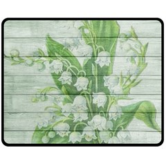 On Wood May Lily Of The Valley Double Sided Fleece Blanket (Medium)
