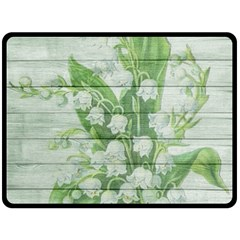 On Wood May Lily Of The Valley Double Sided Fleece Blanket (Large)