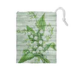 On Wood May Lily Of The Valley Drawstring Pouches (Large)