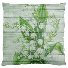 On Wood May Lily Of The Valley Large Flano Cushion Case (Two Sides)