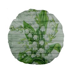 On Wood May Lily Of The Valley Standard 15  Premium Flano Round Cushions