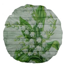 On Wood May Lily Of The Valley Large 18  Premium Flano Round Cushions