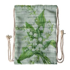 On Wood May Lily Of The Valley Drawstring Bag (Large)