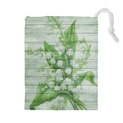 On Wood May Lily Of The Valley Drawstring Pouches (extra Large)