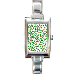 Leaves True Leaves Autumn Green Rectangle Italian Charm Watch
