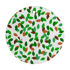 Leaves True Leaves Autumn Green Ornament (round)