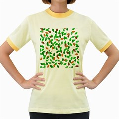 Leaves True Leaves Autumn Green Women s Fitted Ringer T-Shirts