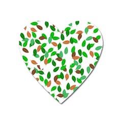 Leaves True Leaves Autumn Green Heart Magnet