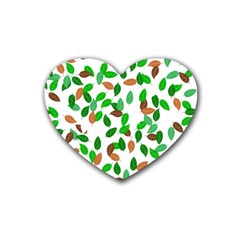 Leaves True Leaves Autumn Green Rubber Coaster (heart)