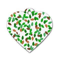 Leaves True Leaves Autumn Green Dog Tag Heart (two Sides)