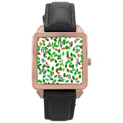 Leaves True Leaves Autumn Green Rose Gold Leather Watch