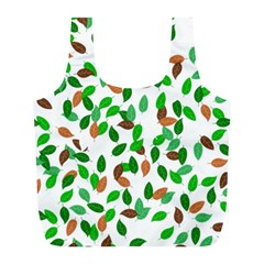 Leaves True Leaves Autumn Green Full Print Recycle Bags (L)
