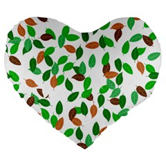 Leaves True Leaves Autumn Green Large 19  Premium Flano Heart Shape Cushions