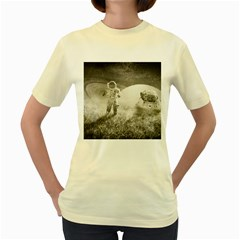 Astronaut Space Travel Space Women s Yellow T-Shirt