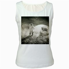 Astronaut Space Travel Space Women s White Tank Top