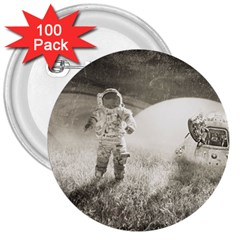 Astronaut Space Travel Space 3  Buttons (100 pack)