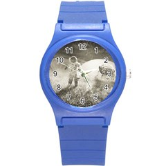 Astronaut Space Travel Space Round Plastic Sport Watch (S)
