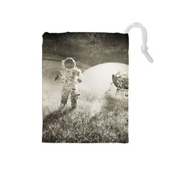 Astronaut Space Travel Space Drawstring Pouches (Medium)