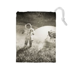Astronaut Space Travel Space Drawstring Pouches (Large)