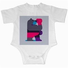 Strong Bear Animals Boxing Red Purple Grey Infant Creepers