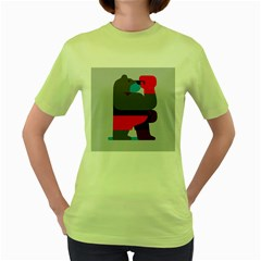 Strong Bear Animals Boxing Red Purple Grey Women s Green T-Shirt