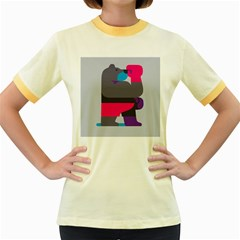 Strong Bear Animals Boxing Red Purple Grey Women s Fitted Ringer T Shirts