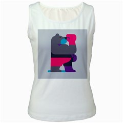 Strong Bear Animals Boxing Red Purple Grey Women s White Tank Top