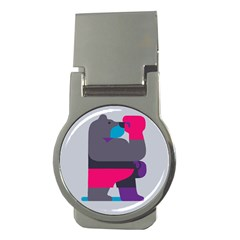 Strong Bear Animals Boxing Red Purple Grey Money Clips (round)
