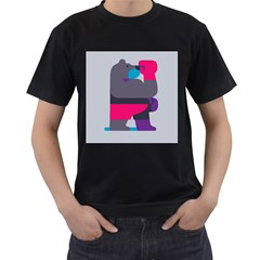 Strong Bear Animals Boxing Red Purple Grey Men s T-Shirt (Black) (Two Sided)