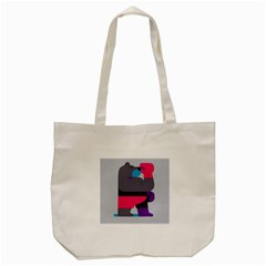 Strong Bear Animals Boxing Red Purple Grey Tote Bag (Cream)
