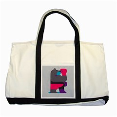 Strong Bear Animals Boxing Red Purple Grey Two Tone Tote Bag