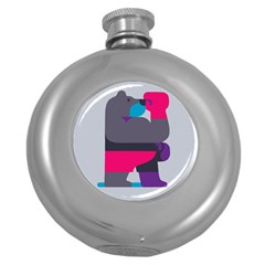 Strong Bear Animals Boxing Red Purple Grey Round Hip Flask (5 Oz)