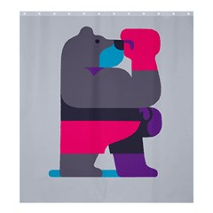 Strong Bear Animals Boxing Red Purple Grey Shower Curtain 66  X 72  (large)