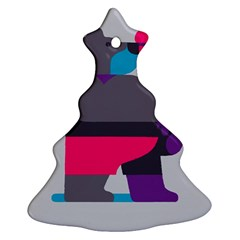 Strong Bear Animals Boxing Red Purple Grey Ornament (Christmas Tree)