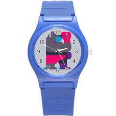 Strong Bear Animals Boxing Red Purple Grey Round Plastic Sport Watch (S)