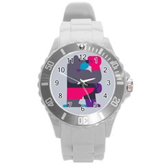 Strong Bear Animals Boxing Red Purple Grey Round Plastic Sport Watch (L)