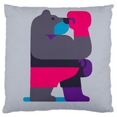 Strong Bear Animals Boxing Red Purple Grey Large Cushion Case (Two Sides)